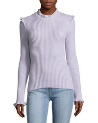 10 Crosby Derek Lam - Ruffle Fitted Cashmere Sweater - Lyst