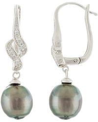 Splendid - Silver 9-10mm Tahitian Pearl & Cz Earrings - Lyst