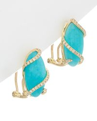 Effy - Fine Jewelry 14k 7.65 Ct. Tw. Diamond & Amazonite Earrings - Lyst