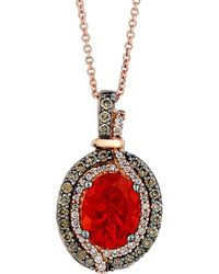 Le Vian - ? Chocolatier? 14k Rose Gold 1.39 Ct. Tw. Diamond & Fire Opal Necklace - Lyst