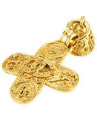 Chanel - Gold-tone Cc Brooch - Lyst