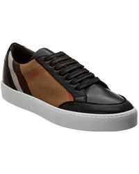 f3d6f65b5ac Burberry - Check Leather Trainers - Lyst