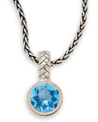 Effy - Fine Jewellery 18k Yellow Gold & Silver Blue Topaz Round Necklace - Lyst