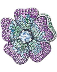 PANDORA - Silver Crystal Glorious Bloom Flower Pendant And Brooch - Lyst