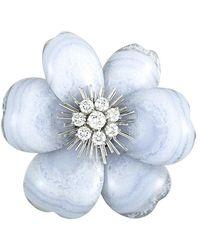 Heritage Van Cleef & Arpels - Van Cleef & Arpels 18k 1.50 Ct. Tw. Diamond & Chalcedony Floral Brooch - Lyst