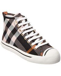 Burberry Check Linen Cotton High Top Sneaker