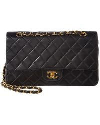 5dec1157a773 Chanel - Black Quilted Lambskin Leather Reissue 2.55 Medium Double Flap Bag  - Lyst