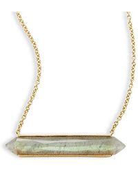 Jude Frances - Lisse 18k Yellow Gold Labradorite Bar Necklace - Lyst