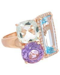 Effy - Fine Jewelry 14k Rose Gold 9.93 Ct. Tw. Diamond & Gemstone Ring - Lyst