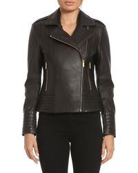 Badgley Mischka - Gia Leather Biker Jacket - Lyst