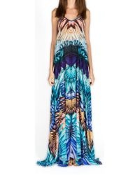 Kore' Collection | Feathers Peacock Maxi Silk Strappy Dress | Lyst