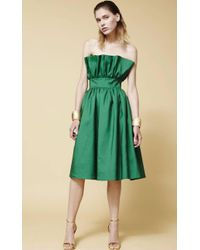 Plakinger - Strapless Green Silk Wool Dress - Lyst
