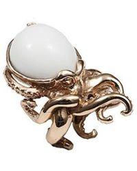 Bernard Delettrez - Octopus Bronze Ring With White Agate - Lyst