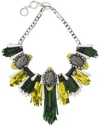 Forest Of Chintz | Disco Jungle Green Gold Fringe Necklace | Lyst