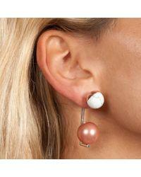 Leivan Kash - Anya White Rhodium Earring - Lyst