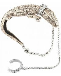 Bernard Delettrez | Bronze And Silver Crocodile Bracelet | Lyst