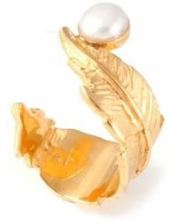 Leivan Kash | Feather Pearl Open Ring | Lyst