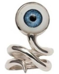 Bernard Delettrez - Silver Snake Ring With Eye - Lyst
