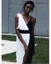 Plakinger - Fringed Black And White Dress - Lyst