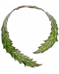 Bernard Delettrez - Openwork Green Enamel Leaf Necklace - Lyst