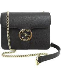 Gucci - Black Leather Marmont Interlocking GG Crossbody Bag - Lyst