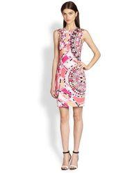 Emilio Pucci - Pink Sleeveless Signature Print Sheath Cotton Dress - Lyst