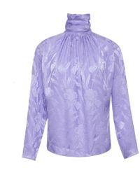 Nina Ricci - Purple Silk Jacquard Blouse - Lyst