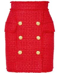 Balmain - Frayed Red Tweed Skirt - Lyst