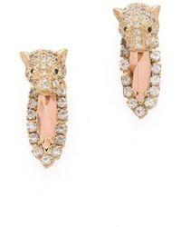 Iosselliani Brass Rhinestone Cheetah Head Earrings - Multicolour