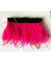 BCBGMAXAZRIA - Portia Pink Feather-trim Lucite Clutch - Lyst
