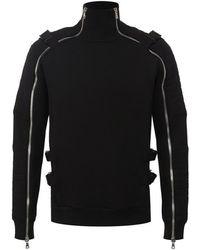 Balmain - Black Zipped Jumper - Lyst