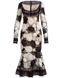 Naeem Khan - Floral Guipure Lace Long Sleeve Dress - Lyst