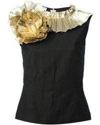 Dries Van Noten - Gold Ruffle Swirl Cotton Top - Lyst