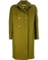 Carven - Lime Green Mohair Double Breasted Oversized Pea Coat - Lyst