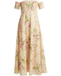Zimmermann - Iris Shirred Linen And Cotton-blend Dress - Lyst