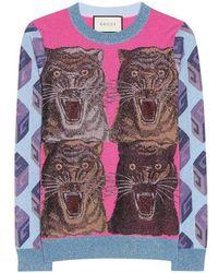Gucci - Tiger Intarsia Viscose Lurex Sweater - Lyst