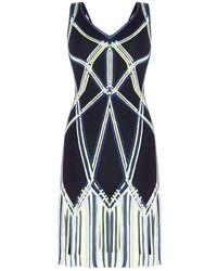 Hervé Léger - Herve Leger Charoletta Basket Weave Fringe Jacquard Dress - Lyst