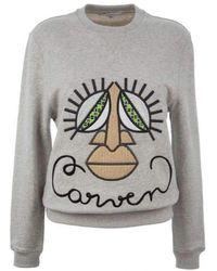 Carven - Woven Cotton Knit Oversized Mask Jumper - Lyst