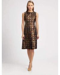 Rochas - Printed Silk Wool Organdy Finished Dress - Lyst