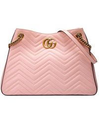 d54e7b6e8f75 Gucci Gg Marmont Maxi Matelasse Top Handle Shoulder Bag in White - Lyst
