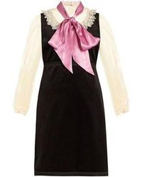 02eb7f458 Gucci - Macrame Lace Trimmed Velvet And Silk Dress - Lyst