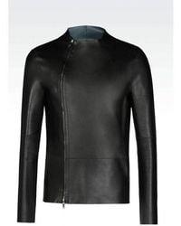 Emporio Armani - Runway Reversible Blouson In Napa Leather Jacket - Lyst