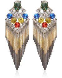 Iosselliani Multicolour Gem Fringe Clipon Earrings