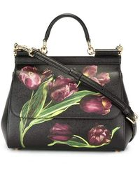 23d78d224b Dolce   Gabbana - Sicily Medium Tulip-print Leather Top-handle Satchel -  Lyst