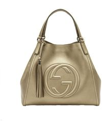db82a87a6214 Gucci - Soho Leather Medium Chain-strap Tote, Gold Beige - Lyst
