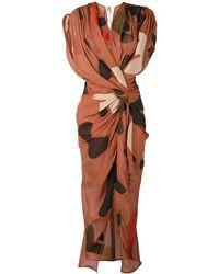 Jacquemus - 'la Robe Henri' Print Drape Midi Dress - Lyst