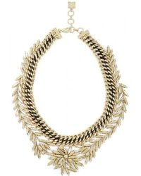 BCBGMAXAZRIA - Bcbg Maxazria Gold Woven Leaf Necklace - Lyst
