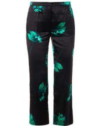 Nina Ricci - Green Floral Printed Silk Satin Trousers - Lyst