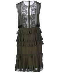 Emilio Pucci - Knee Length Silk Cocktail Lace & Ruffled Dress - Lyst