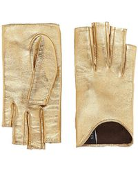 Gucci - Metallic Leather Gloves In Gold - Lyst